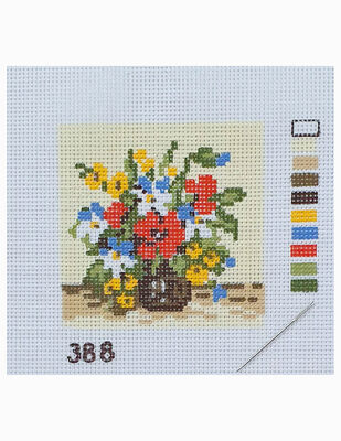 Kanaviçe Kiti, Mini Goblen - Baskılı Etamin, İplikler ve İğne - 8 x 8 cm - 388