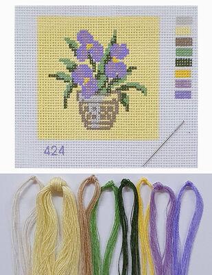 Kanaviçe Kiti, Mini Goblen - Baskılı Etamin, İplikler ve İğne - 8 x 8 cm - 424