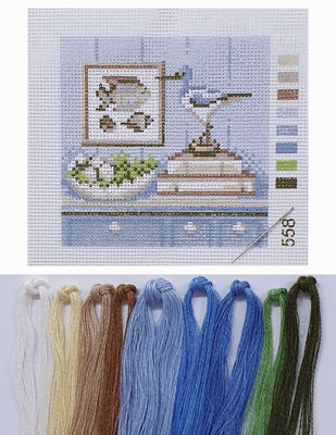 Kanaviçe Kiti, Mini Goblen - Baskılı Etamin, İplikler ve İğne - 8 x 8 cm - 558