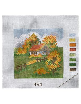 Kanaviçe Kiti, Mini Goblen - Baskılı Etamin, İplikler ve İğne - 8 x 8 cm - 494