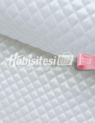Kapitone Kumaş - Dikişli - Beyaz - En 200 cm