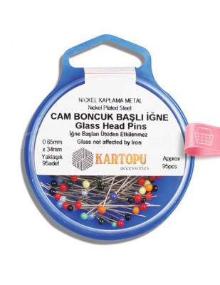 KARTOPU - Kartopu Toplu İğne - Cam Boncuk Başlı - 0,65 x 34 mm - 95 Adet / Kutu