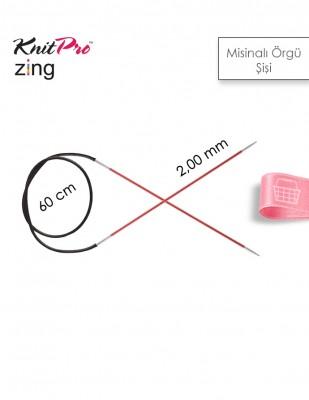 KNITPRO - KnitPro Zing Misinalı Örgü Şişi - 60 cm - 2 mm