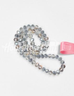 - Kristal Cam Boncuk - Gümüş - Çap 8 mm - 72 Adet