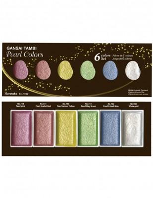 KURETAKE - Kuretake Gansai Tambi Profesyonel Suluboya - Pearl Colors - 6 Renk