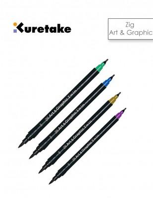 KURETAKE - Kuretake ZIG Art & Graphic Çift Uçlu Çizim ve Boyama Kalemi