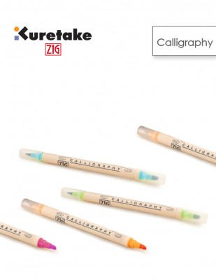 KURETAKE - Kuretake ZIG Calligraphy Pen, Kaligrafi Kalemi İki Uçlu - 2.0 mm, 5.0 mm