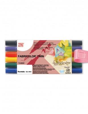 KURETAKE - Kuretake ZIG Fabricolor Çift Uçlu Kumaş Kalem Seti - 6 Renk