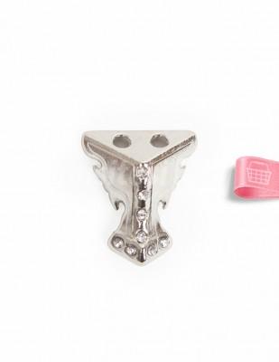 - Metal Ayak - Gümüş Taşlı - 2,5 cm - No: 13