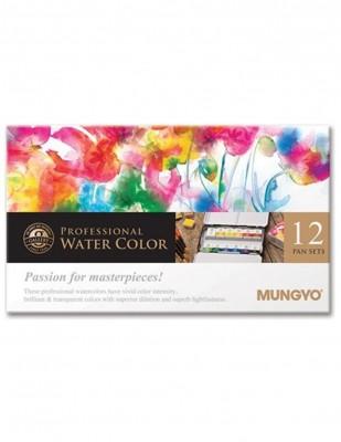 MUNGYO - Mungyo Professional Watercolor Sulu Boya Seti - Full Size - 12 Renk