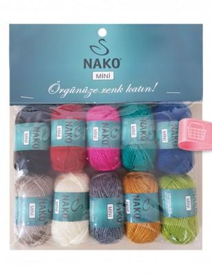 NAKO - Nako Mini El Örgü İplikleri - 10 Adet / Paket - No 8
