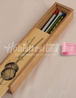 - Örgü Şişleri Kutusu, Huş Ağacından - 7 x 4 x 37 cm - S02 (1)