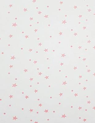 - Penye Kumaş - Yıldız Desenli - En 180 cm - Pembe