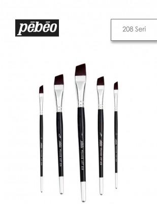 PEBEO - Pebeo 208 Seri Yan Kesik Fırçalar - Sentetik Kıl, Kısa Sap