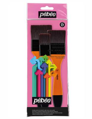 PEBEO - Pebeo Çok Amaçlı Zemin Fırça Seti - 3lü Doğal Beyaz Kıl - Set 17