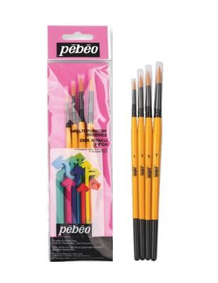 PEBEO - Pebeo Çok Amaçlı Fırça Seti - Yuvarlak Uçlu 4lü Fırça Seti - Set 1