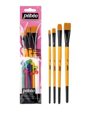 PEBEO - Pebeo Çok Amaçlı Fırça Seti - Düz Kesik 4lü Fırça Seti - Set 10