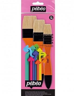 PEBEO - Pebeo Çok Amaçlı Zemin Fırça Seti - 3lü Doğal Beyaz Kıl - Set 16