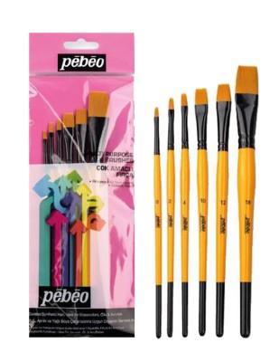 PEBEO - Pebeo Çok Amaçlı Fırça Seti - Düz Kesik 6lı Fırça Seti - Set 3