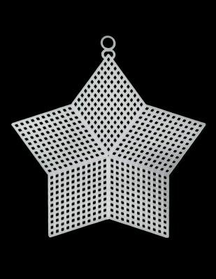 - Plastik Kanvas - Yıldız - 12,5 x 12,5 cm