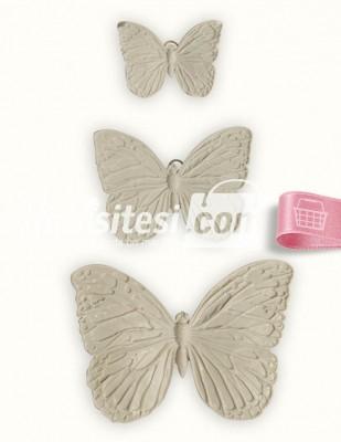 - Polyester Duvar Süsü - Pano - 15 x 10 - 10 x 8 - 7 x 5 cm - KELEBEK02 - 3 Adet