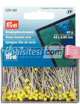 PRYM - Prym Toplu İğne - Sarı Cam Boncuk Başlı - 40 gr - 029160
