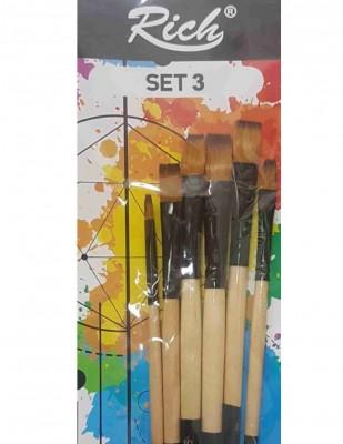 - Rich Fırça Seti - 6lı Düz Kesik Fırça Seti - Set 3