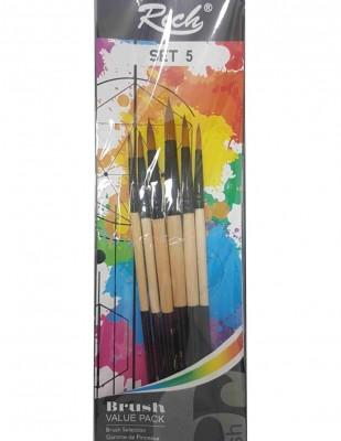 - Rich Fırça Seti - 6lı Yuvarlak Uçlu Fırça Seti - Set 5