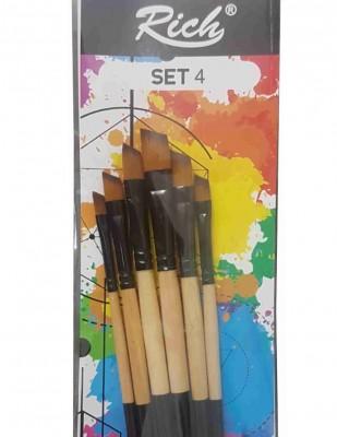 - Rich Fırça Seti - 6lı Yan Kesik Fırça Seti - Set 4