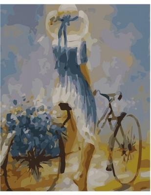 - Sayılarla Tuval Boyama Seti - 40 x 50 cm - Bisikletli Kız
