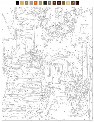 - Sayılarla Tuval Boyama Seti - 40 x 50 cm - Eski Ev (1)