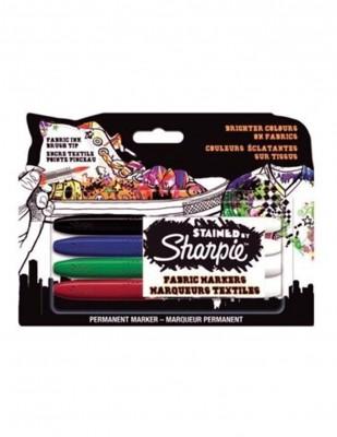SHARPIE - Sharpie Fabric Marker, Brighter Colours,Fırça Uçlu Kumaş Kalem Seti - 4 Renk