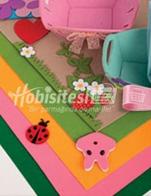 - Tabaka Keçe Kumaş, İnce Renkli, Hobi Keçe - 1 mm - 42 x 42 cm (1)