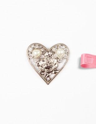 - Taşlı Kalp Toka - Gümüş - Çap 4 cm