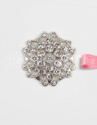 - Taşlı Toka - Gümüş - Çap 4 cm