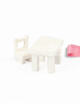 - Teraryum Malzemesi - Masa Sandalye - Beyaz - 3,5 x 2,5 x 2,5 cm - 612/613