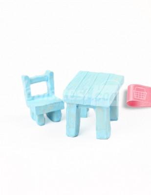 - Teraryum Malzemesi - Masa Sandalye - Mavi - 3,5 x 2,5 x 2,5 cm - 612/613
