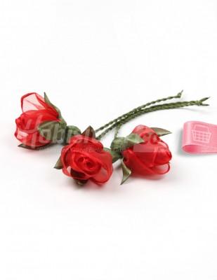 - Tespih Ucu Çiçek - Organze - Kırmızı - 2,5 cm