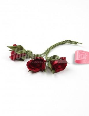 - Tespih Ucu Çiçek - Saten - Bordo - 2,5 cm