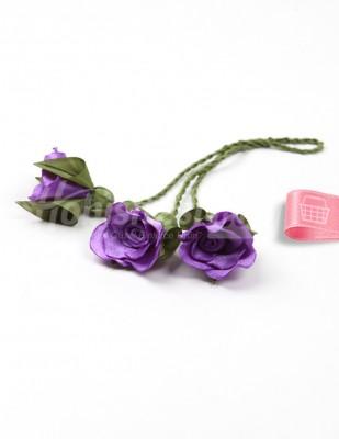 - Tespih Ucu Çiçek - Saten - Eflatun - 2,5 cm