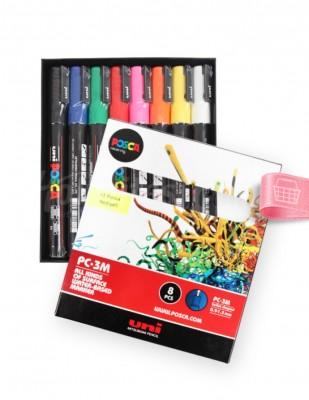 UNI POSCA - Uni Posca Boyama Markörü, Kalem Seti, PC-3M - Ana Renk Tonları - 8 Renk