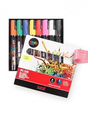 UNI POSCA - Uni Posca Boyama Markörü, Kalem Seti, PC-5M - Ana Renk Tonları - 8 Renk