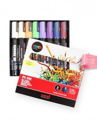 UNI POSCA - Uni Posca Boyama Markörü, Kalem Seti, PC-5M - Çiçek Renk Tonları - 8 Renk