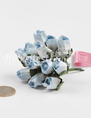 - Yapay Çiçek - Açık Mavi - Çap 2 cm / Dal ile Uzunluk 10 - 6 Dal / Demet