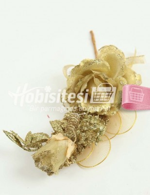 - Yapay Çiçek - Altın - Çap 7 cm / Uzunluk 23 cm