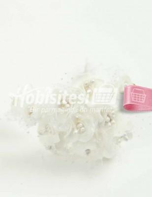 - Yapay Çiçek - Beyaz - Çap 2 cm / Uzunluk 10 cm - 12 Dal / Demet