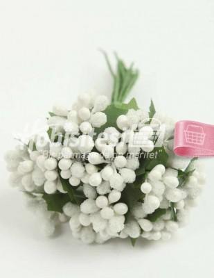 - Yapay Çiçek - Beyaz - Çap 2 cm / Uzunluk 12 cm - 12 Dal / Demet