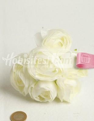 - Yapay Çiçek - Beyaz Yeşilli - Çap 5 cm - 6 Adet / Demet