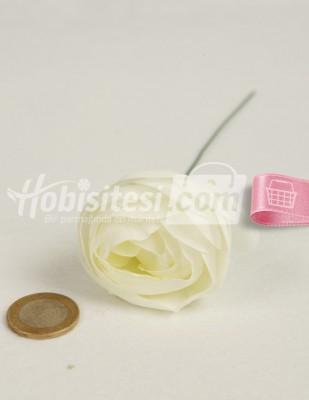 - Yapay Çiçek - Beyaz Yeşilli - Çap 5 cm
