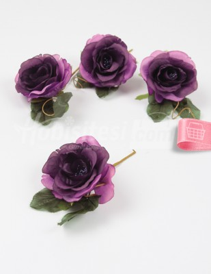 - Yapay Çiçek - Bordo - 5 cm - 4 Adet / Paket